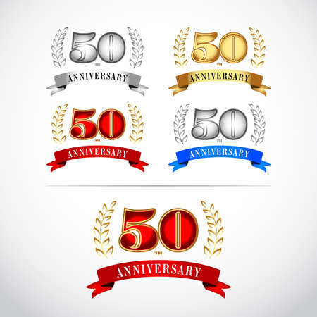 50th Years Anniversary Celebration Design Template on White Background. Isolated vector illustration design. Silver, blue, gold, red versions.