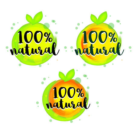 Green abstract apple 100% natural lettering sticker set. Eco friendly concept for stickers, banners, cards, advertisement. Vector ecology nature design.