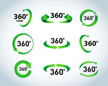 360 Degrees View Vector Icons. Isolated vector illustration