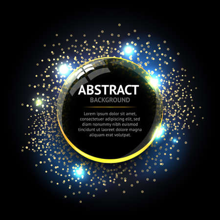 Dark blue Abstract ring background. Metal chrome shine round effect Vector sparkling glowing stainless steel cover. Space for your message. Ilustrace