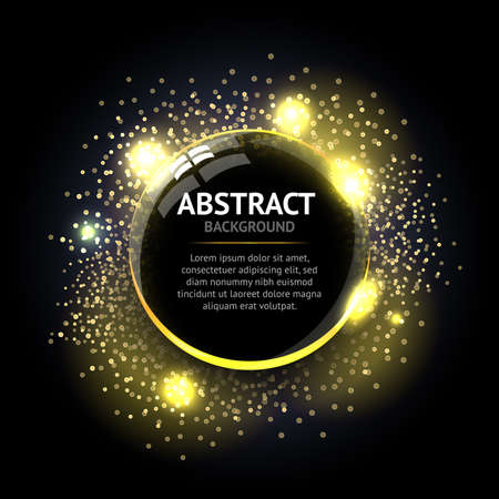 Dark yellow Abstract ring background. Metal chrome shine round effect Vector sparkling glowing stainless steel cover. Space for your message. Ilustrace