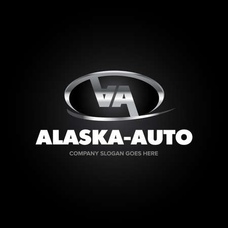 Auto Company Vector Design Concept silver version. 2 double A letters template. Vector Illustration.