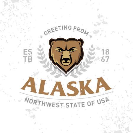 Alaska Old School textured t shirt graphics apparel fashion print. Retro typographic badge design. Vintage americana style. Vector Illustration.