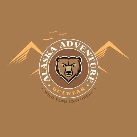 Alaska adventure outdoor t shirt graphics apparel fashion print. Vector Illustration.