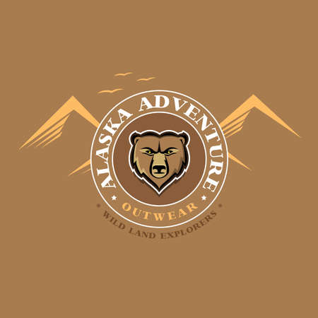 Alaska adventure outdoor t shirt graphics apparel fashion print. Vector Illustration.
