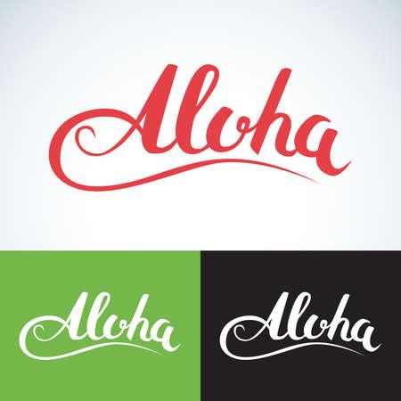 Vector aloha word, vintage style. Summer apparel print design, t shirt graphics.