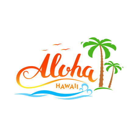 Aloha Hawaii handmade tropical exotic t-shirt graphics. Aloha Hawaii calligraphy words with palms, ocean and birds. Summer apparel print design. Travel souvenir idea. Vector illustration.