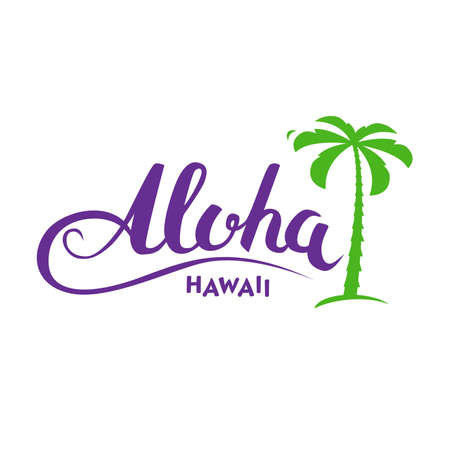 Aloha Hawaii handmade tropical exotic t-shirt graphics. Summer apparel print design. Travel souvenir idea. Vector illustration.