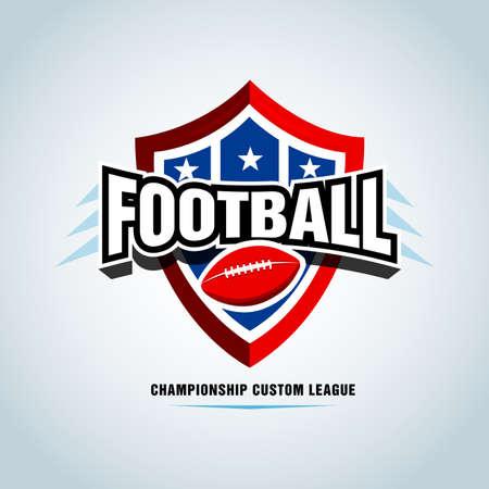 American football  template, badge, t-shirt, label, emblem. Red, blue, black color version. Vector illustration. Ilustrace