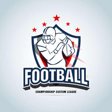 American football  template, badge, t-shirt, label, emblem. Red, dark blue color version. Logotype Vector illustration.