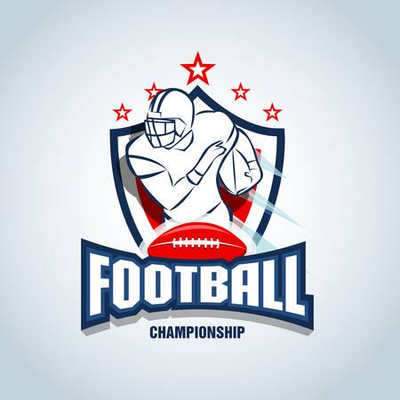 American football  template, badge, t-shirt, label, emblem. Red, dark blue color version.  Vector illustration.