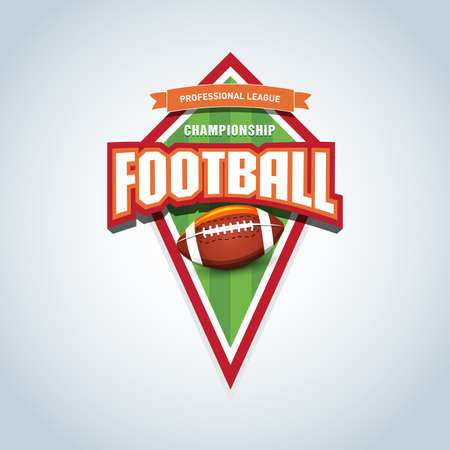 American football template. American football emblem, template, t-shirt apparel design. American football ball. Sport badge for tournament or championship.