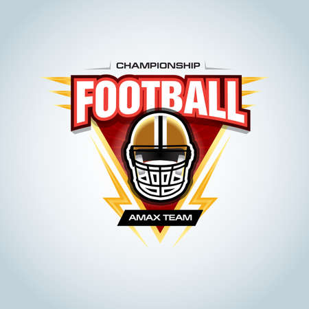 American football template, badge, t-shirt, label, emblem. Football helmet. Vector illustration.