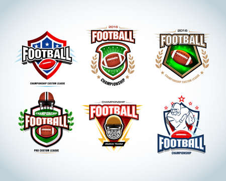 American football templates, badges, crests, t-shirt, labels, emblems, t-shirt, icons. Football helmet, player. Vector.
