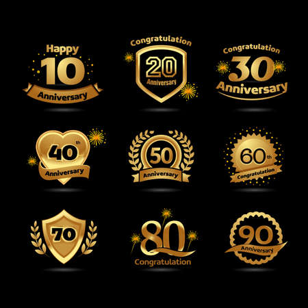 Golden Anniversary Happy New Year festive celebration emblems set with ribbons. Black background version. Ilustrace