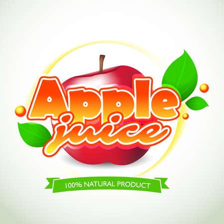Apple juice label and lettering on white background. Splash and blot design, shape creative vector illustration.