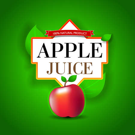 Apple Juice label design. Bright Apple juice poster template. Reklamní fotografie - 127482450