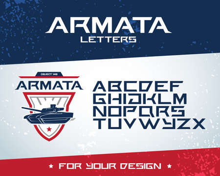 Armata letters modern font. Latin alphabet letters. Alphabet. Modern geometric font for advertising, title or design. Futuristic font Ilustrace