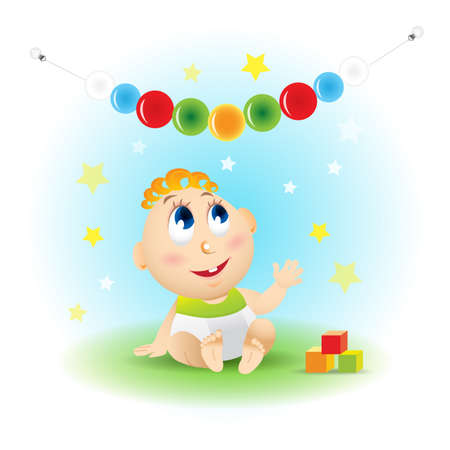 Cute smiling baby cartoon with baby building blocks, toy balls, stars on blue background, vector illustration