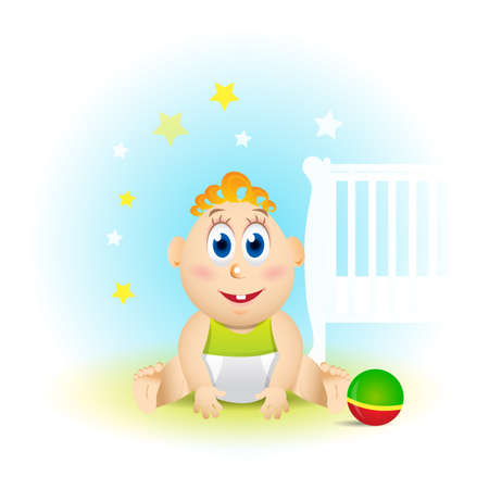 Cute smiling baby cartoon with toy ball, stars and baby bed on blue background, vector illustration