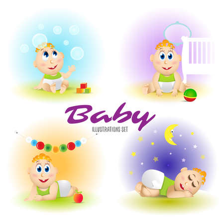 Baby set illustrations. Set of funny babies. Caroton Vector isolated illustrations. Ilustrace