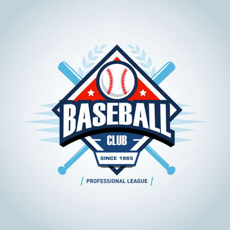 Baseball sport badge design template and some elements for badge, banner, emblem, label, insignia, T-shirt screen and printing. Baseball template. Ilustrace