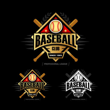 Golden Baseball sport badges design template and some elements for badges, banners, emblems, labels, insignia, T-shirt screen and printing. Baseball template.
