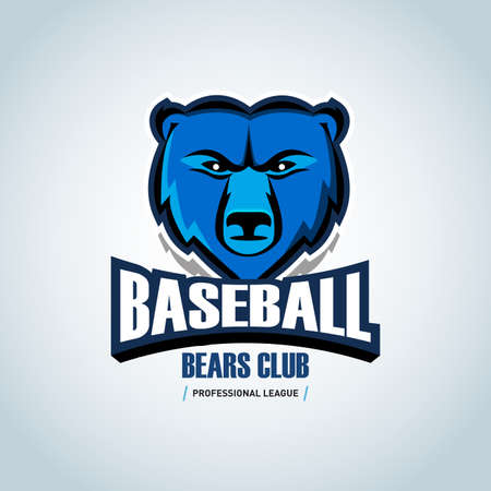 Baseball bear sport badge design template and some elements for badge, banner, emblem, label, insignia, T-shirt screen and printing. Baseball template. Ilustrace