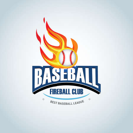 Baseball fireball sport badge design template and some elements for badge, banner, emblem, label, insignia, T-shirt screen and printing. Baseball template. Ilustrace