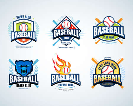Baseball sport badges set. Design template and some elements for badges, banners, emblems, labels, insignia, T-shirt screen and printing. Baseball templates. Ilustrace