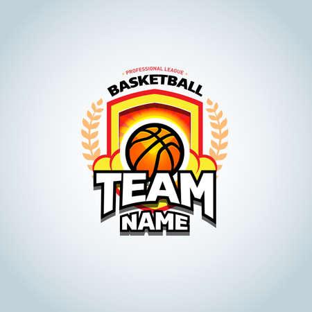 Basketball template, basketball badge design template, sport template. Basketball Themed T shirt template. Vector illustration. Ilustrace