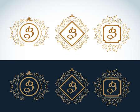 Monogram design elements, graceful template. Calligraphic elegant line art icon design. Ilustrace