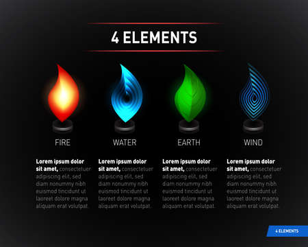 Colorful Nature elements. Water, Fire, Earth, Air. Infographics elements on dark background. Ilustrace