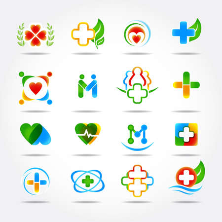 20 Medical icons and logos design. Isolated vector illustrations. Ilustrace