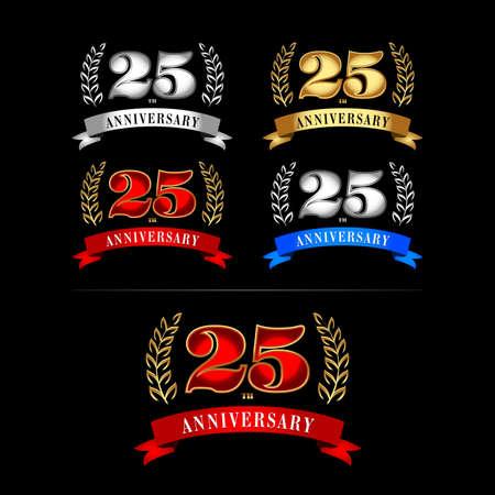 25th Years Anniversary Celebration Design templates set. Reklamní fotografie - 127482612