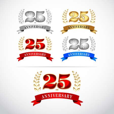 25th Years Anniversary Celebration Design templates set on white background. Ilustrace