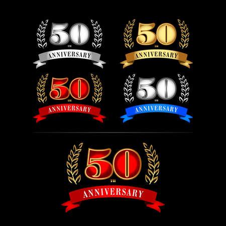 50th Years Anniversary Celebration Design templates set on black background.