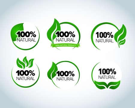 Set of 100% natural, retro vintage logo label design. Green laurel wreath. Eco logo template. Green Vector illustration.