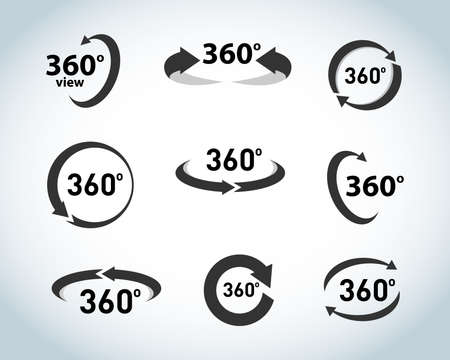 illustration of 360 degrees view icons isolated on white background Reklamní fotografie - 127482621