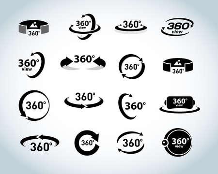 360 graden bekijken Vector Icons set. Virtuele realiteit pictogrammen. Geïsoleerde vectorillustraties. Zwart en wit versie.