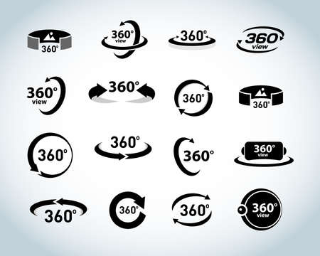 360 Degrees View Vector Icons set. Virtual reality icons. Isolated vector illustrations. Black and white version. Vettoriali