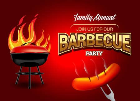 Logo della festa barbecue, modello di invito alla festa. Illustrazione vettoriale.