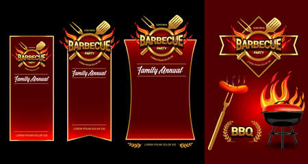 Barbecue party, party banners, invitation template. BBQ brochure menu design. Vector illustration.