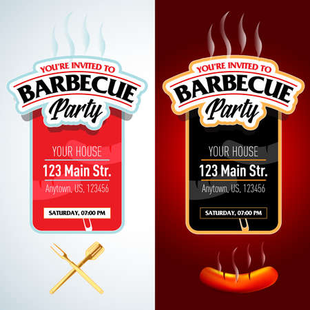 Barbecue party design template set, Barbecue invitation. Isolated Vector illustration. Reklamní fotografie - 126185714