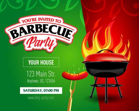 Barbecue party design template, Barbecue invitation. Isolated Vector illustration.