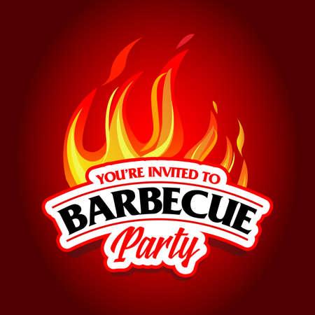 Barbecue party design, Barbecue invitation. Barbecue logo. BBQ template menu design. Barbecue Food flyer. Barbecue advertisement. Barbecue ad design. Ilustrace