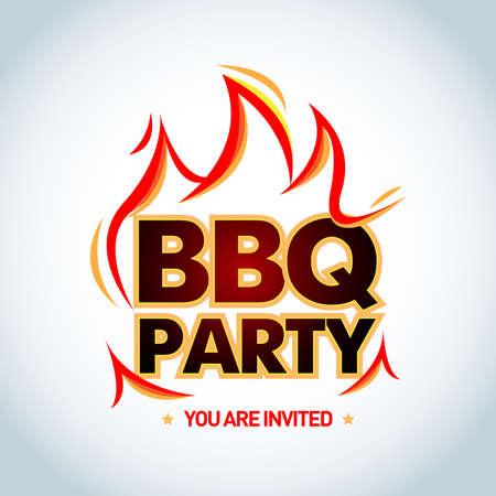 Barbecue BBQ party invitation, vector illustration