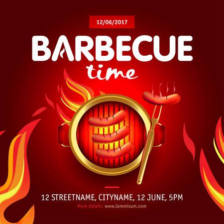 Barbecue time party design template, Barbecue invitation. Isolated Vector illustration. Ilustrace