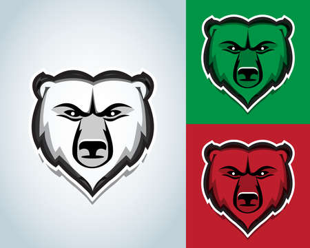 Bear head mascots illustration. Black and white version. T-shirt vector design.