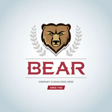 Bear logo template. Animal head symbol. Grizzly mascot, team logo design, angry bear. Logotype, t-shirt design.